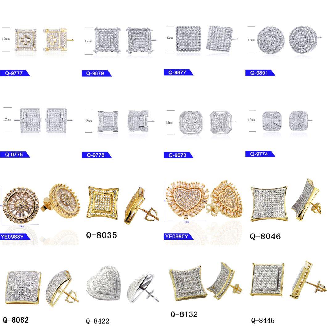 Wholesale Hip Hop Men's Sterling Silver Fashion Jewelry 14 K Gold Plated Cubic Zirconia Rapper Stud Earrings