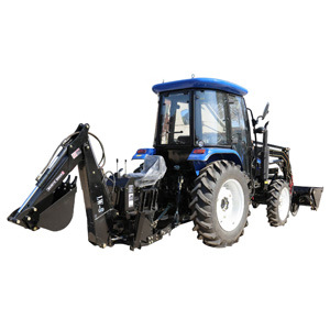 China Agricultural Machinery Manufacturer 70HP 4X4 Small Compact Garden Mini Farm Tractor with Front End Loader and Backhoe Attachment Price for Agriculture