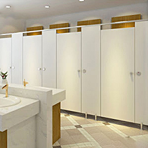 White Solid Phenolic Compact Laminate Toilet Cubicle Partition