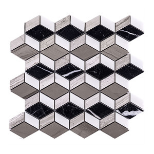 Diamond Shape Nero Marquina & Wood Gray Marble Mosaic Kitchen Tile