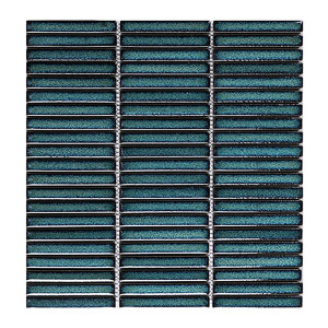 Strip Stackbond Green Color Glazed Ceramic Mosaic for Wall Decoration