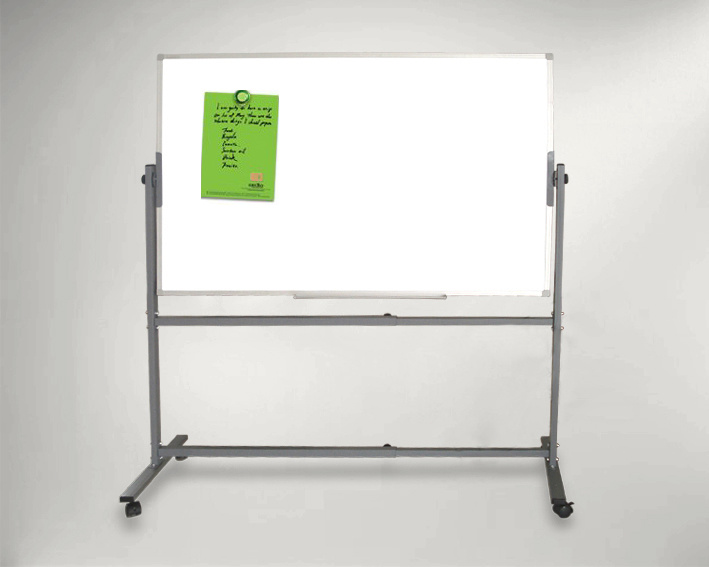 Overturned White Board - Mobile Double Sided Reversible with Casters