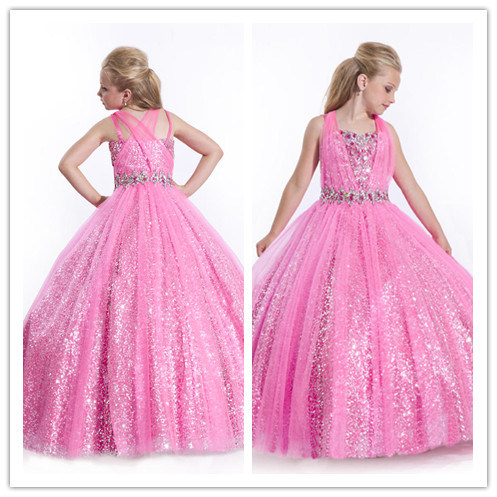 New Style Pink Beads Flower Girl Dress (XZ417)