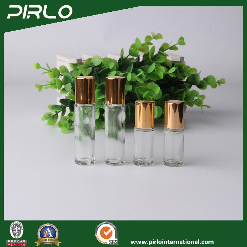 3ml 5ml Clear Luxury Glass Perfume Deodorant Bottle with Gold Aluminum Lid Small Portable