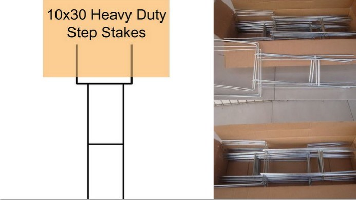 Heavy Duty Step Stakes for Lawn Sign Frame