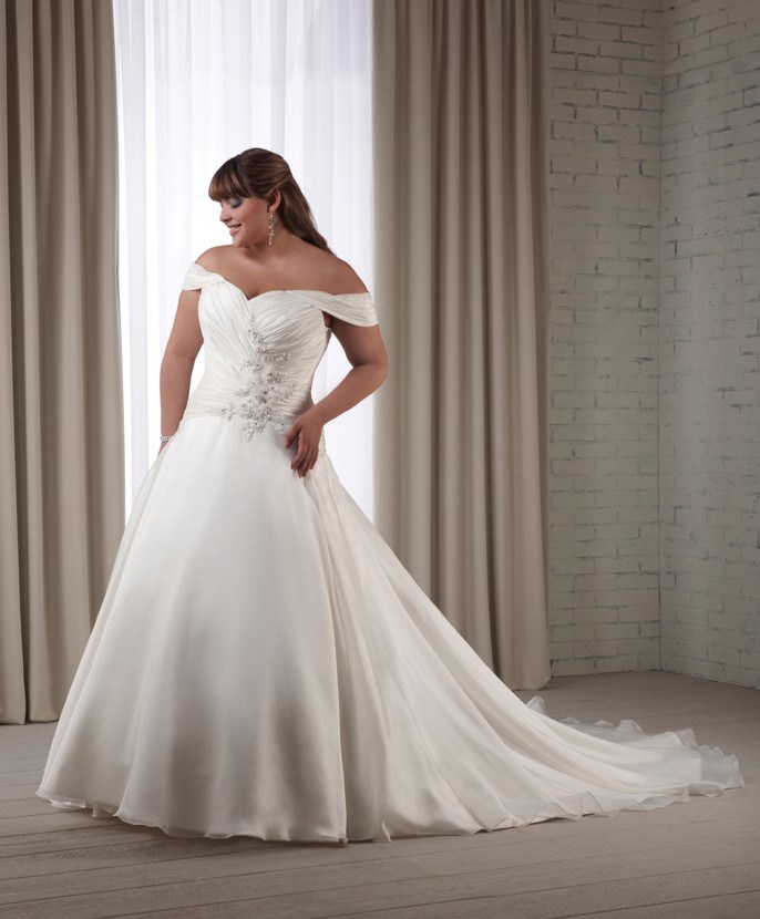 The information is not available right now for Plus size off the shoulder wedding dress