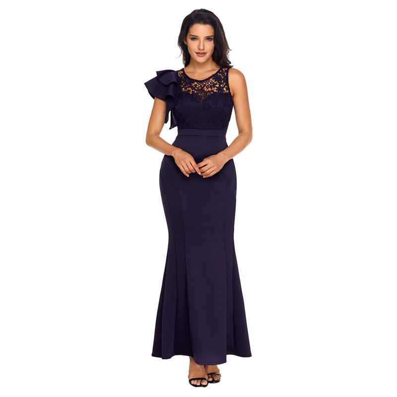 Woman Black Ruffle Sleeve Crochet Top Maxi Evening Gown Dress