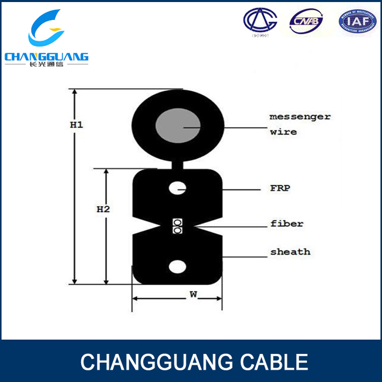 G657A Fiber GJYXFCH 1, 2, 4 Core Fiber Optical Cable with Messenger 1km Price