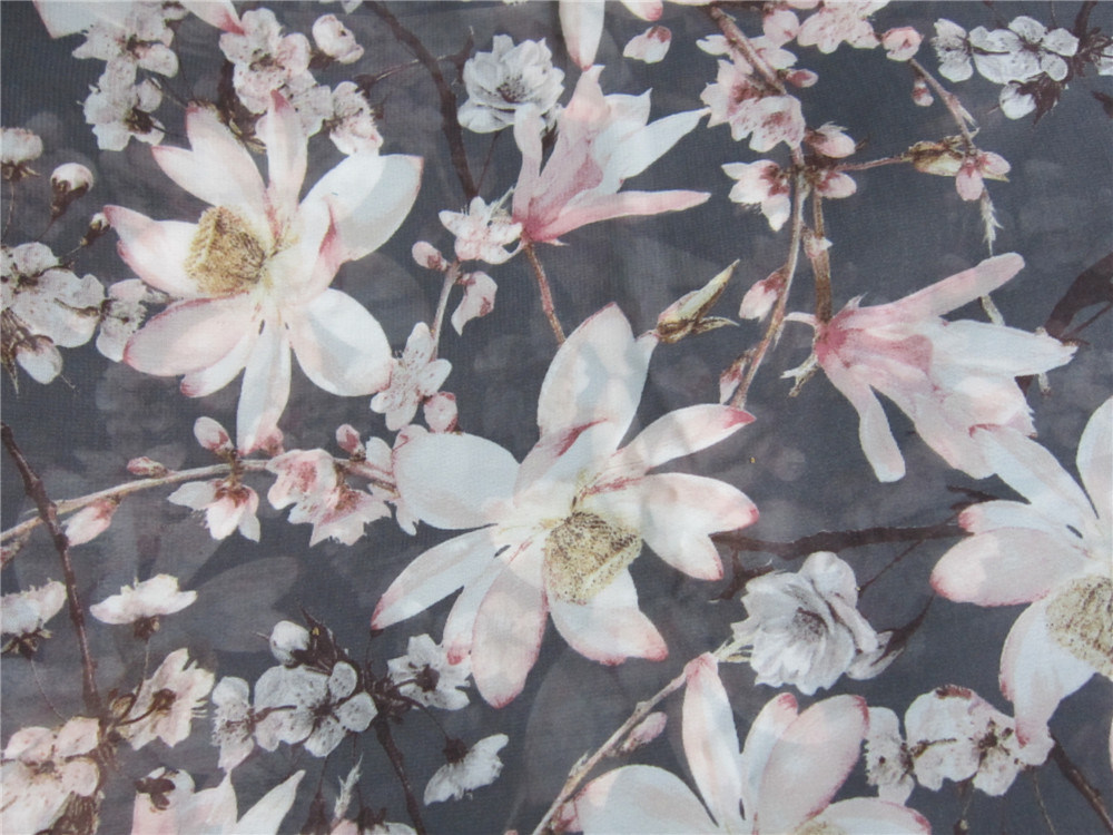 Printed Polyester Imitation Silk Fabric for Skirt