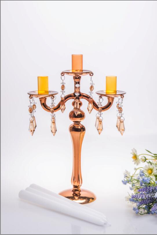 Golden Glass Candle Holder for Wedding Decoration (three poster)