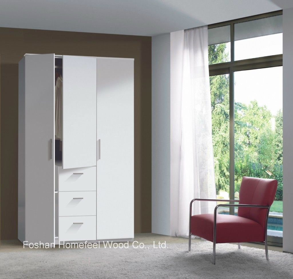 Modern 3 Door 3 Drawer Combi Triple Wooden Wardrobe (HF-EY08011)