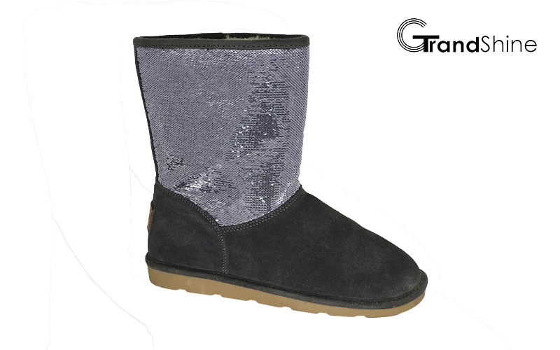 Women′s New Arrival Suede Boots with Sequins Shaft