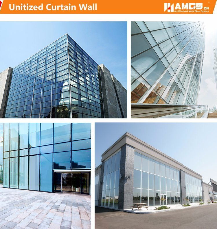 Aluminum Exterior Tempered Glass Curtain Wall for Building with One-Stop Solution