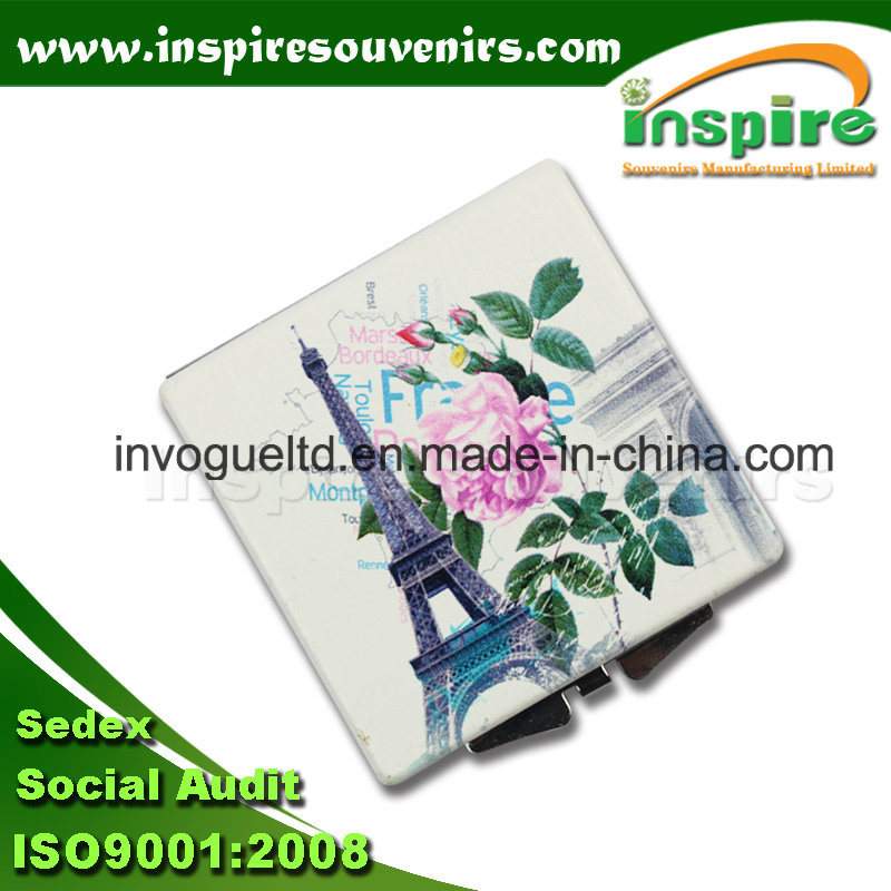 Customized Zinc Alloy Round Pocket Mirror for Paris Souvenir