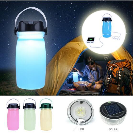 Colorful Camping Hiking Solar Rechargeable Bottle