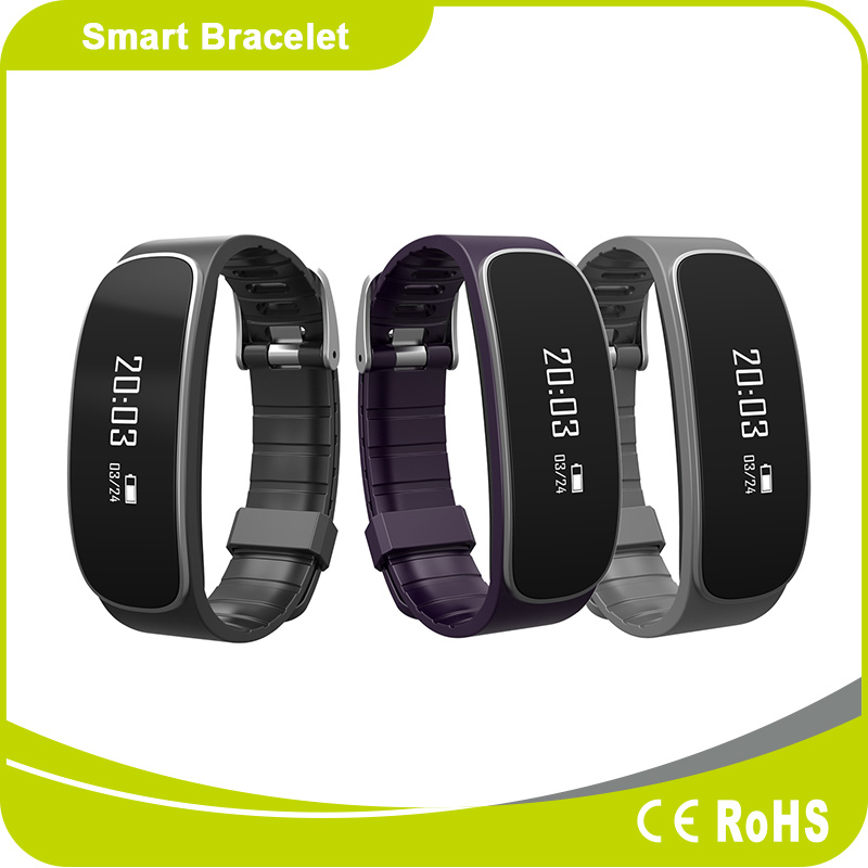 Silicone Bluetooth Smart Bracelet with Heart Rate Monitoring and Pedometer Function