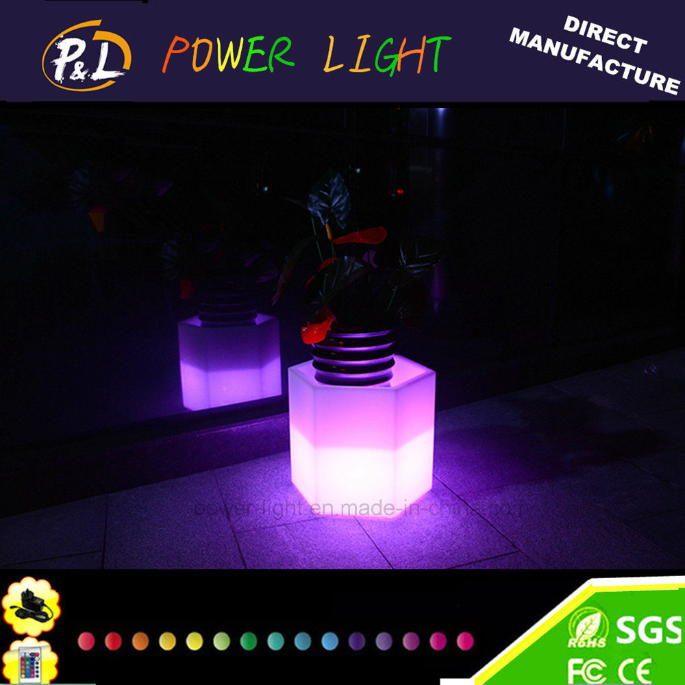 Hotel&Home Furniture Plastic Colorful LED Illuminated Flower Pot