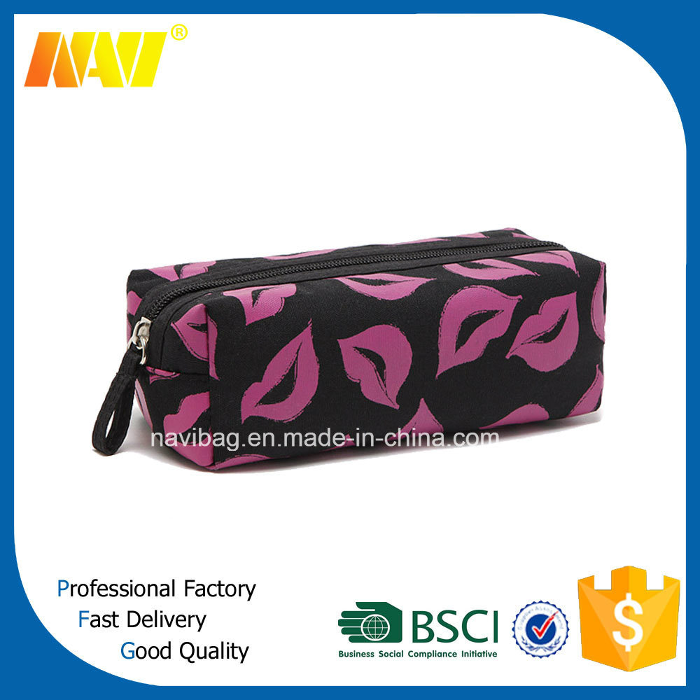 Lip Shaped Satin Cosmetic Bag for Women