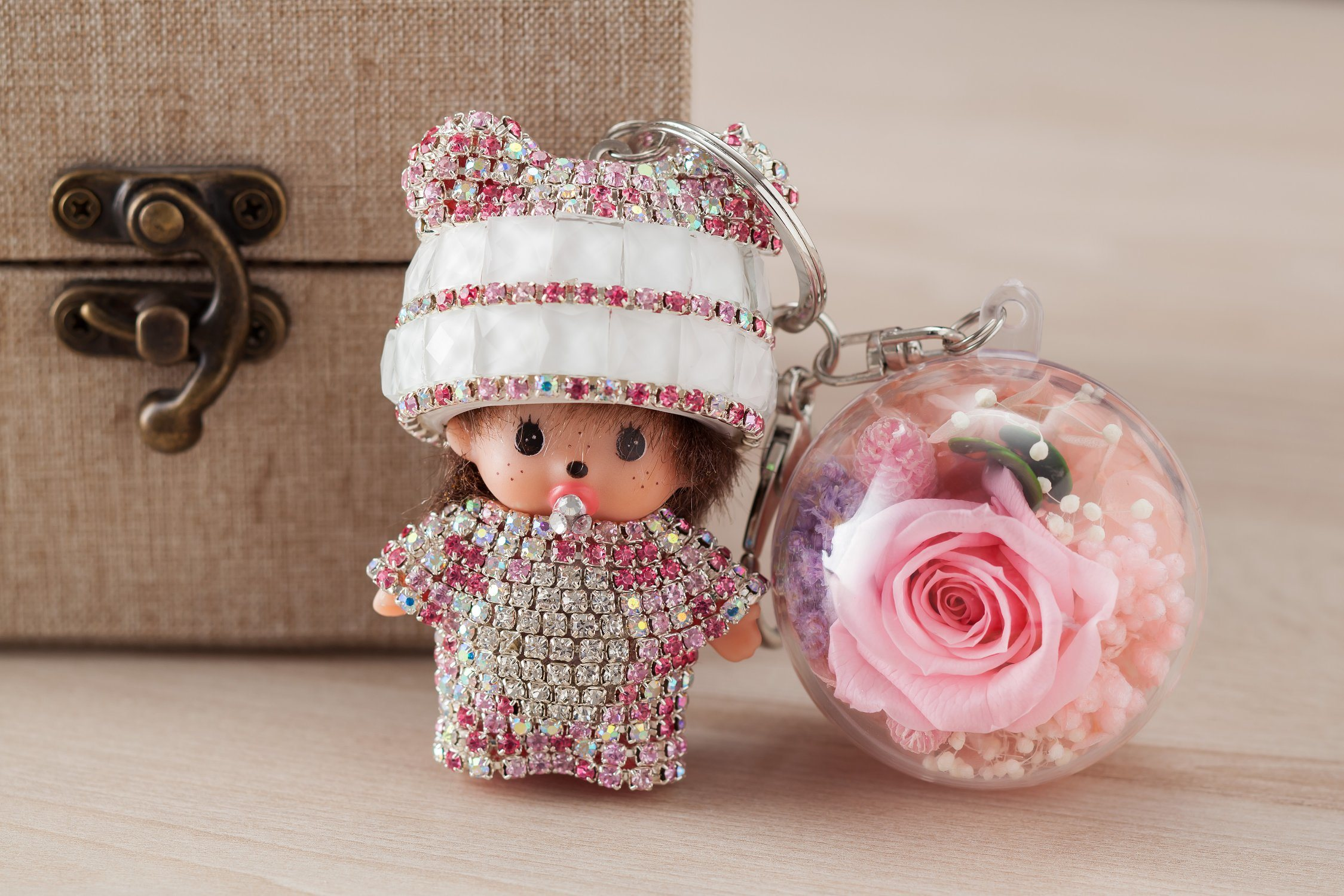 Ivenran Preserved Fresh Flower Monchhichi Keychain for Present and Decoration