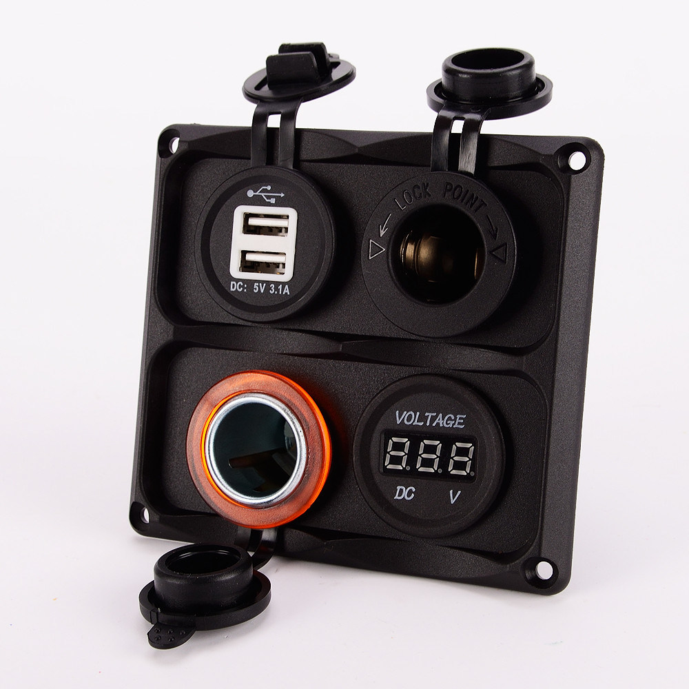 Single Tenting Voltmeter USB Port Charger Connector on Mounting