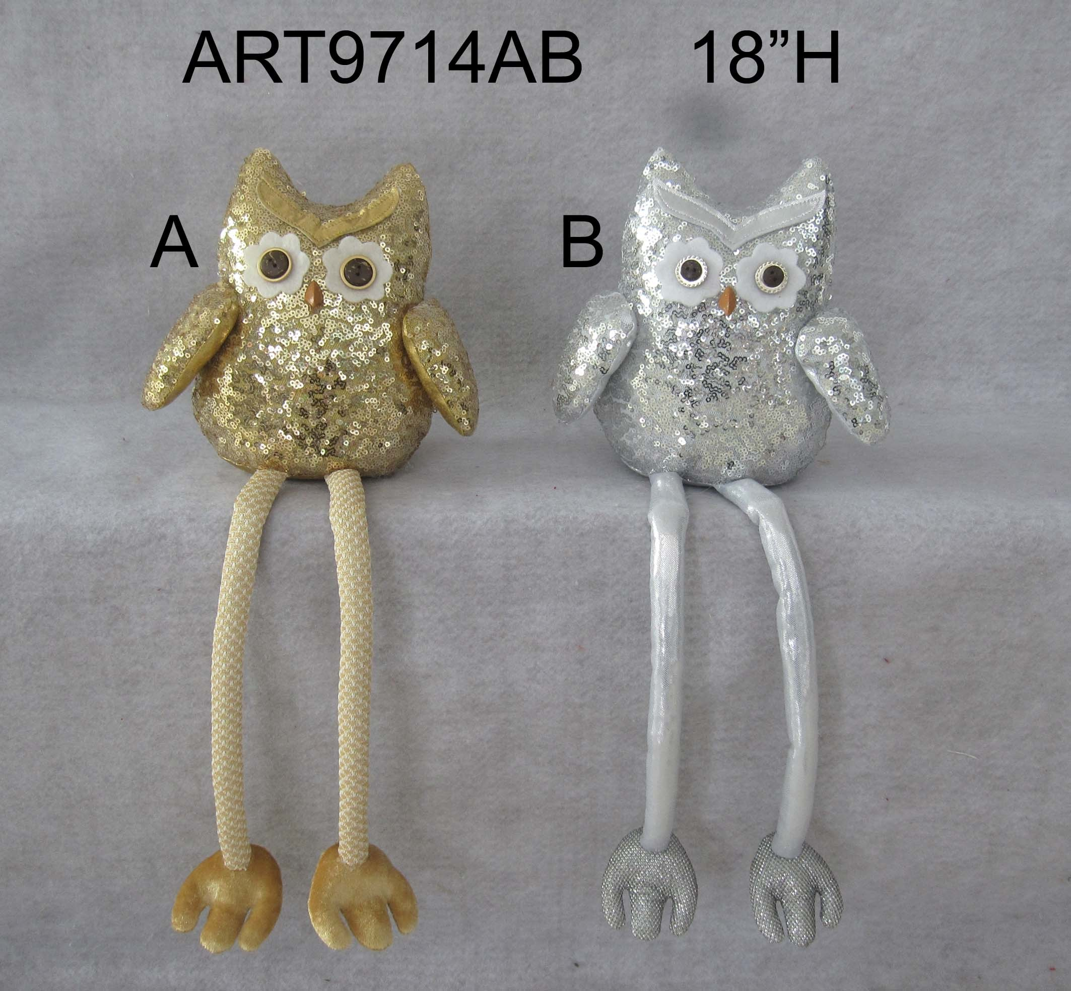 Gold Sequin Owl Sitter Christmas Decoration Gift