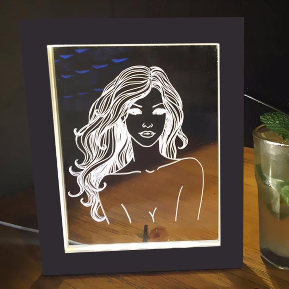 LED Picture Frame with Wood