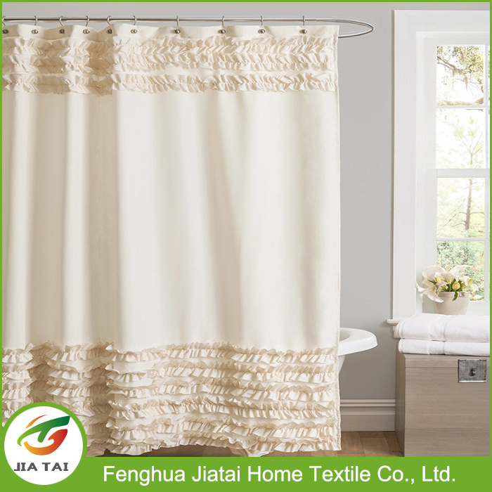High Quality Polyester Custom Beautiful Ruffle Shower Curtain