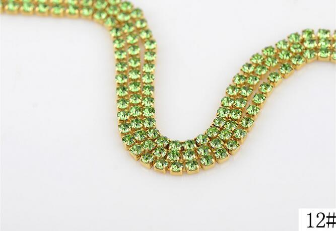 Fancy Rhinestone Cup Chain Rhinestone Gold Plated Garment Rhinestone Chain (TCG-ss10)