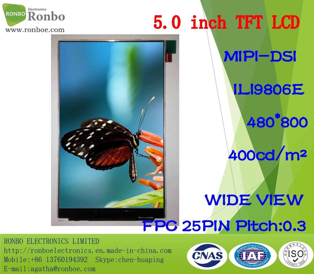 "5.0""480X800 Mipi TFT LCD Screen, Ili9806e, 25pin for POS, Doorbell, Medical"
