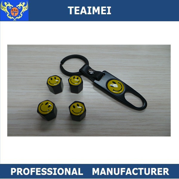 Customized Car Smile Logo Metal Alloy Center Tire Valve Caps with Keychain