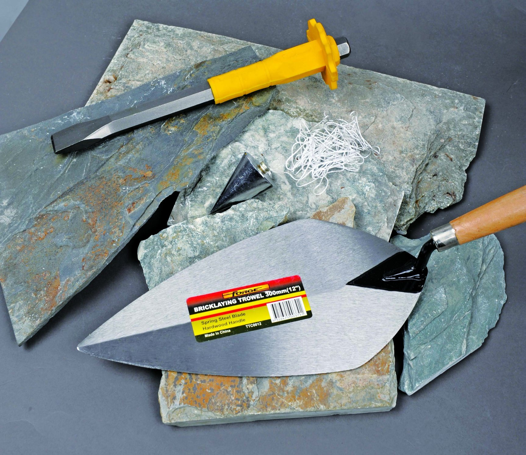 """8"""" Medium Carbon Steel Pointed Bricklaying Trowels with Wooden Handle"""