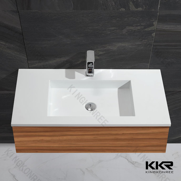 White Solid Surface Marble Bathroom Cabinet Hand Basin (B1705043)
