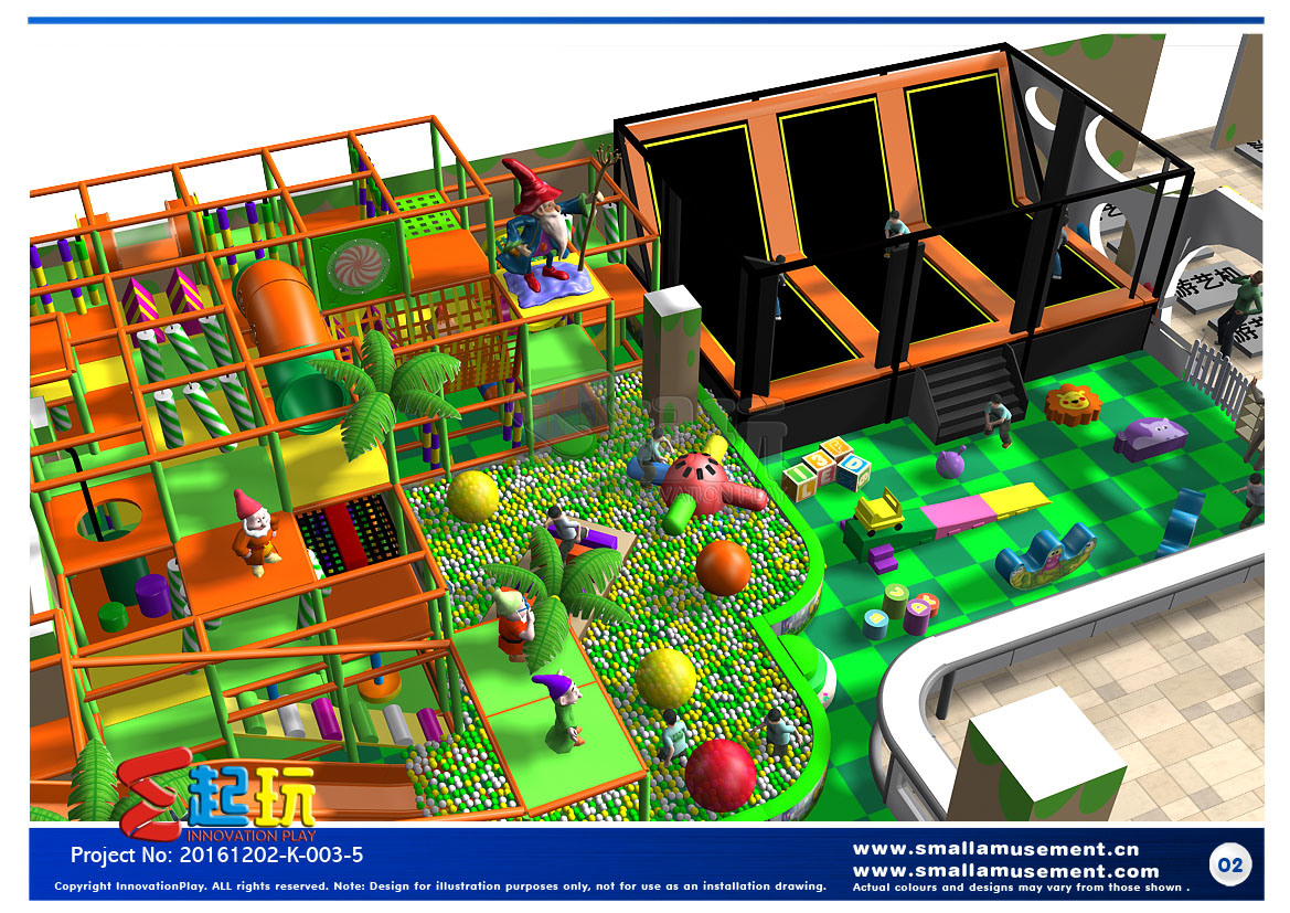 Dwarf Themed Indoor Playground with Big Slide