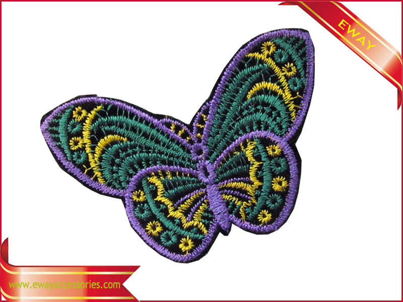 Iron on Fabric Embroidery Label Garment Butterfly Embroidery Label