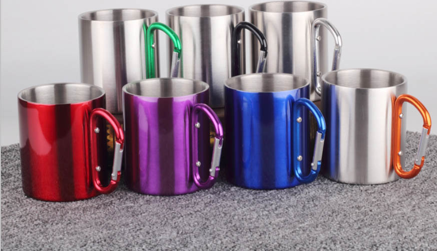 Double Wall Stainless Steel coffee Mug with Black PP Lid and Handle
