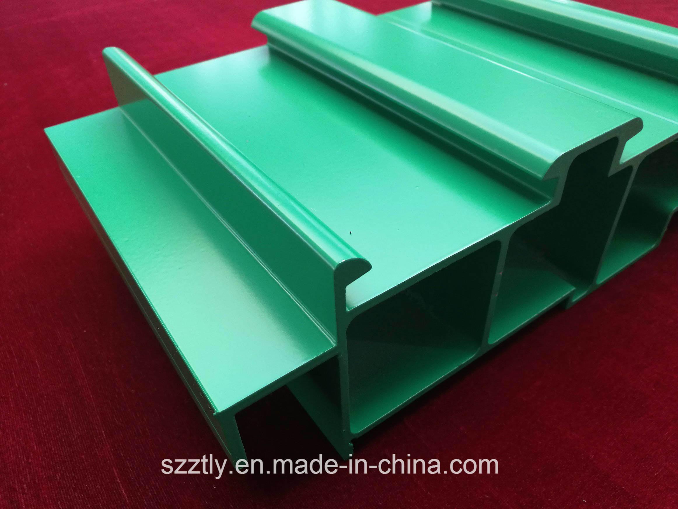 Green Powder Coated Custom Aluminum Extrusion Profile