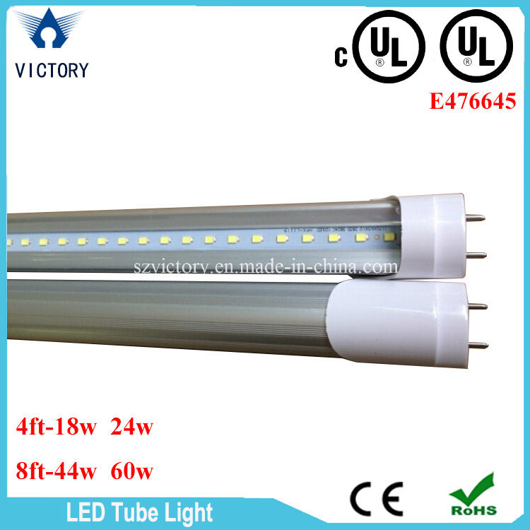 Single Row AC85-285V Warm White T8 18W LED Tube Light