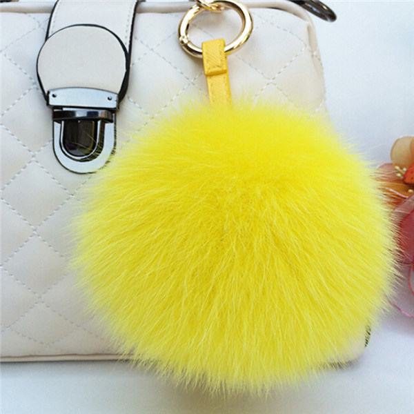 Fur Ball Key Chain/Fur Pompom for Hats/Real Fox Fur POM Poms