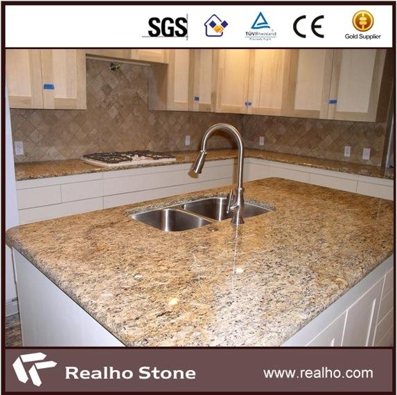 Brazilian Gold Light Giallo Santa Cecilia Granite Countertop and Vanity Top