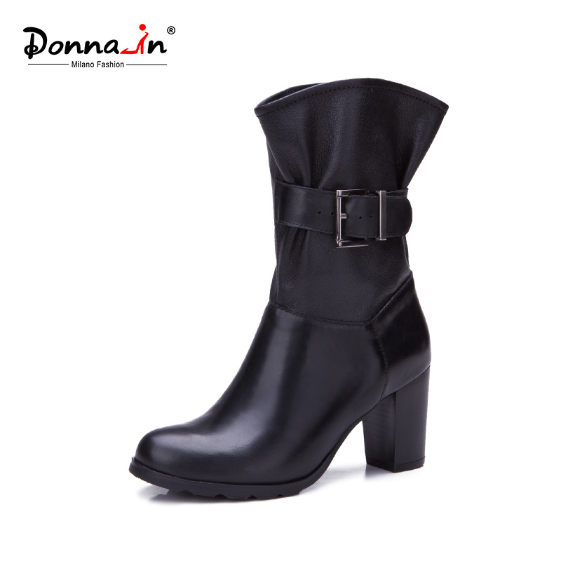 Women Casual Leather Shoes Buckle-Strap High Heels Lady Boots Shoes