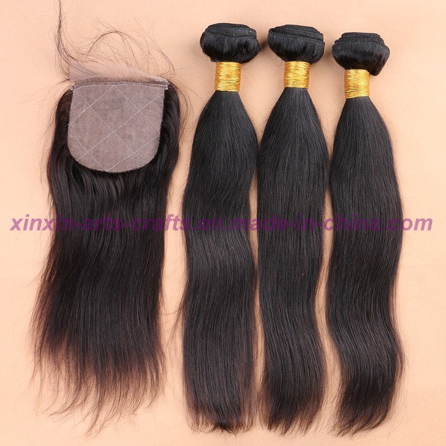 8A Grade Silk Base Closure with Bundles 4X4 Silk Base Closure with Bundles Straight Malaysian Virgin Hair with Closure