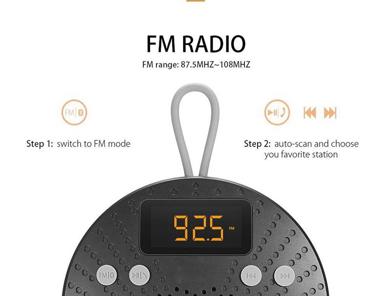 Multifunction Smart Shower Bluetooth Wireless Speaker with Alarm Clock