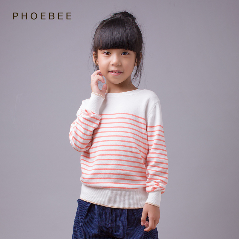 100% Cotton Striped Girls Sweaters for Spring/Autumn