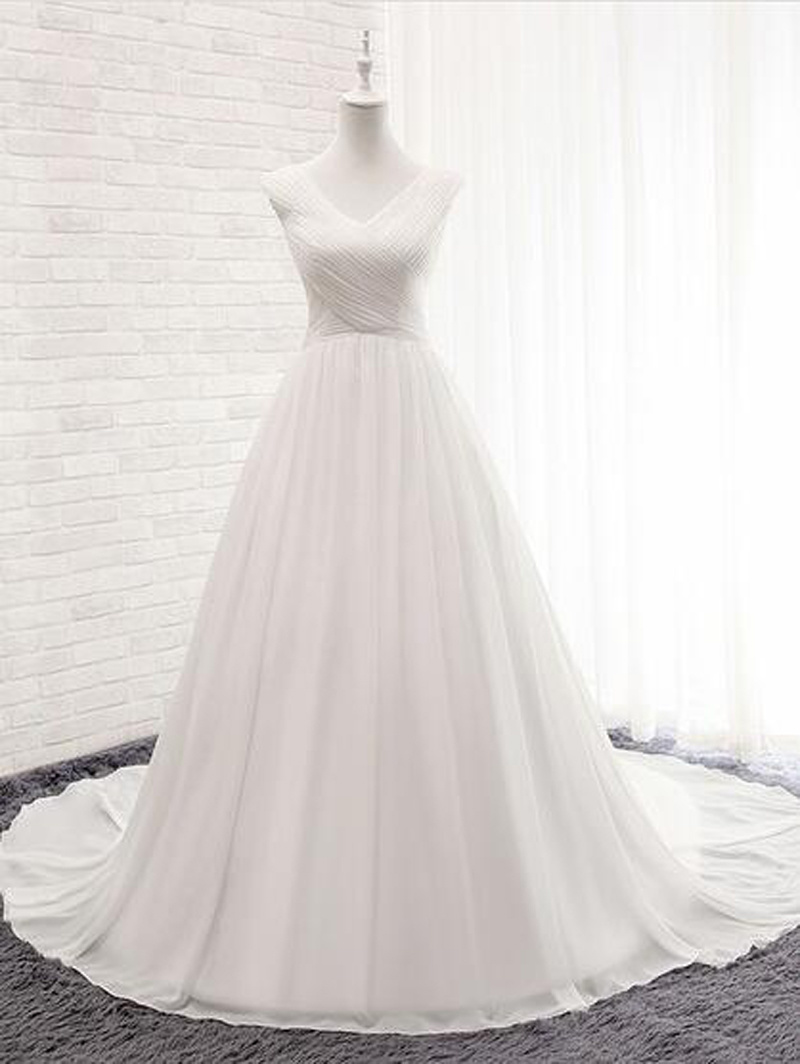 Chiffon V-Neck Ball Gown Court Train with Ruffles Wedding Dress