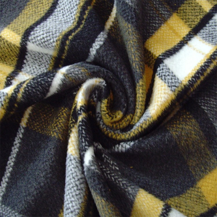 Checked, Herringbone, Fleece Fabric for Jacket, Garment Fabric, Textile Fabric, Clothing