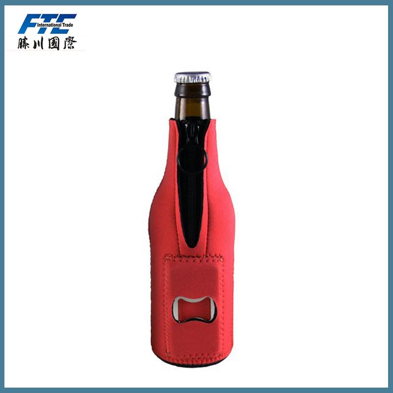OEM Neoprene Beer Can Holder Bottler Cooler with Bottle Opener