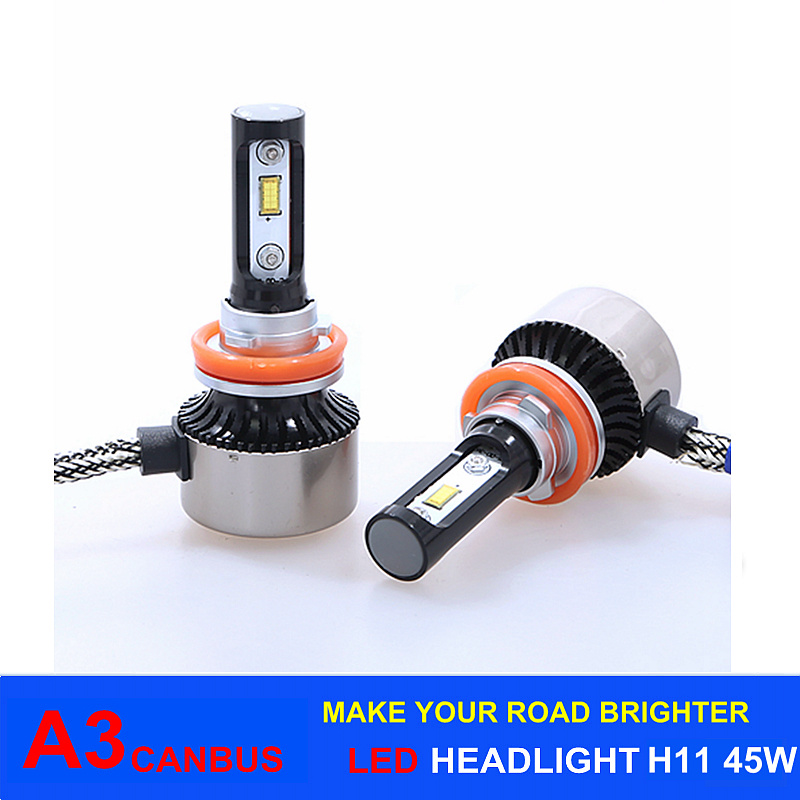 2017 New Arrival 45W 6000lm A3 Canbus LED Headlight H11 6000k
