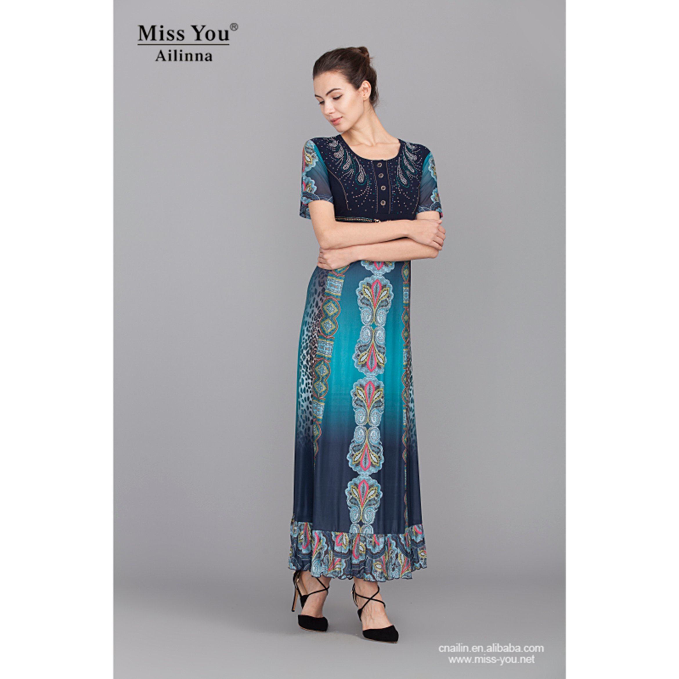 Miss You Ailinna 101972 Slim Long Dress Elegant Dress with High Quality