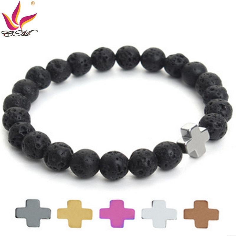 SMB011 Aliexpress Fashion Original Lava Stone Bracelet with Cross Hematite Decoration