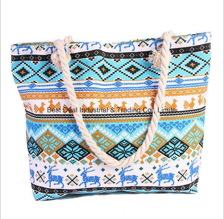 The New Handbags National Wind Large Capacity Canvas Shoulder Bag Fashion Colorful Beach Bag